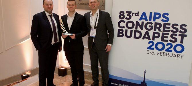 AIPS kongrese Budapešte – didžiųjų sporto organizacijų vadovai ir laureatas iš Lietuvos